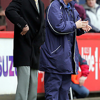 Partick Thistle v St Johnstone..16.04.05<br />Jim Weir and Athol Henderson encourage the St Johnstone players<br /><br />Picture by Graeme Hart.<br />Copyright Perthshire Picture Agency<br />Tel: 01738 623350  Mobile: 07990 594431