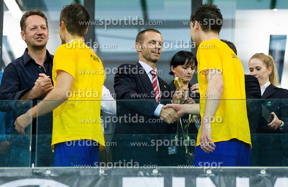 Boris Popovic and Aleksander Ceferin with medals for NK Koper after winning during football match between NK Koper and NK Celje in Final of Slovenian Hervis Cup  2014/15 on May 20, 2015 in Arena Bonifika, Koper, Slovenia. Photo by Vid Ponikvar / Sportida