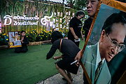 13 May 2017. Pran Buri, Thailand.<br /> Local villagers in Pran Buri celebrate the life of King Bhumibol the Great who died October 13th last year. The former King, who is lying in state in Bangkok, will be cremated at the end of a three day cremation ceremony between 25-27 of October.<br /> Photographer: Rick Findler