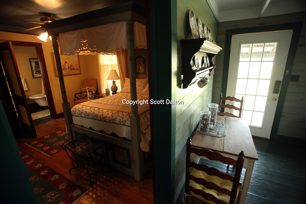 The interior of The Cabin, a bungalow and one of the homes of Taunia and John Elick located at their ranch headquarters in Chappell Hill, Texas on Wednesday September 2, 2009. The couple rescues old houses and move them to their Texas ranch where after extensive repairs and remodeling they turn them into bed and breakfasts. Their bed and breakfast is called Texas Ranch Life. (Photo/Scott Dalton)