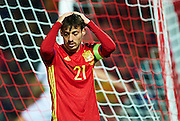 GRANADA, SPAIN - NOVEMBER 12:  David Silva of Spain reacts during the FIFA 2018 World Cup Qualifier between Spain and FYR Macedonia at  on November 12, 2016 in Granada, .  (Photo by Aitor Alcalde Colomer/Getty Images)