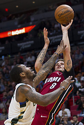 January 14, 2018 - Miami, FL, USA - Miami Heat guard Tyler Johnson (8) shoots and scores in the second quarter against the Milwaukee Bucks on Sunday, Jan. 14, 2018 at the AmericanAirlines Arena in Miami, Fla. (Credit Image: © Matias J. Ocner/TNS via ZUMA Wire)