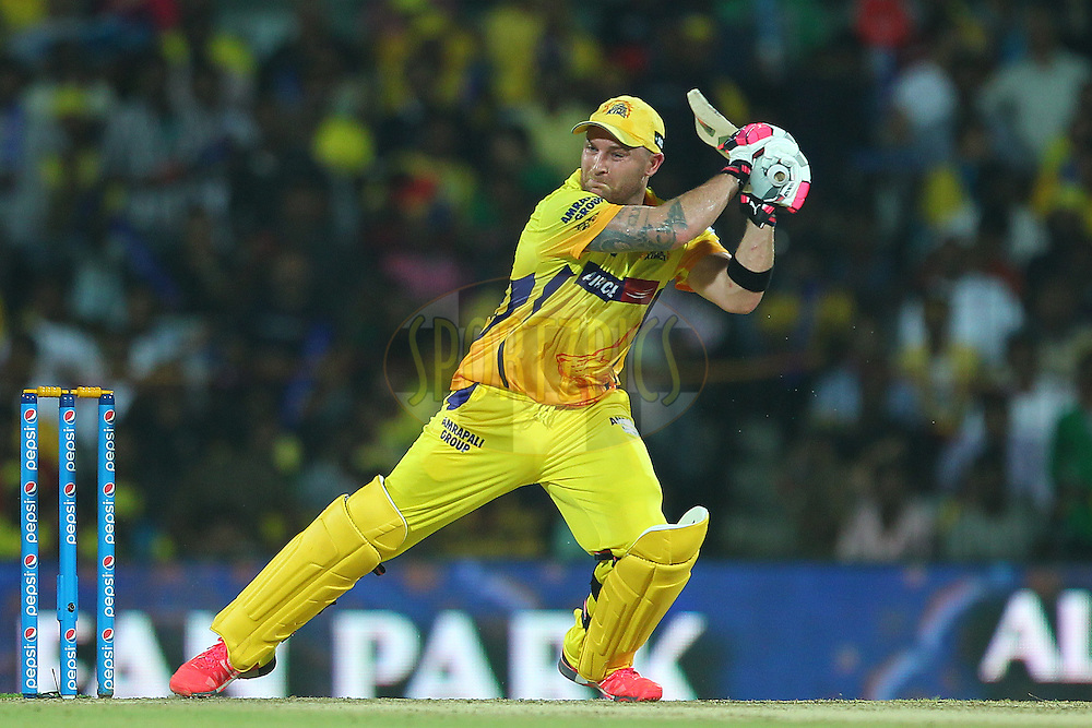 Brendon McCullum of the Chennai Superkings holds his position after playing a cut during match 47 of the Pepsi IPL 2015 (Indian Premier League) between The Chennai Superkings and The Rajasthan Royals held at the M. A. Chidambaram Stadium, Chennai Stadium in Chennai, India on the 10th May 2015.<br /> <br /> Photo by:  Ron Gaunt / SPORTZPICS / IPL