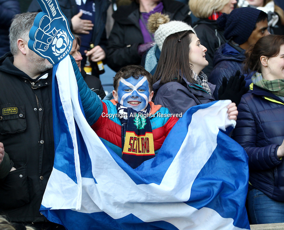 February 4th 2017, Murrayfield, Edinburgh, Scotland; 6 Nations International rugby, Scotland versus Ireland; Scottish fans celebrate their win over Ireland