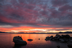 """Bonsai Rock Sunset 3"" - Photograph of a orange and pink sunset at Bonsai Rock on Lake Tahoe."