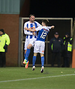 13th February 2018, Rugby Park, Kilmarnock, Scotland; Scottish Premiership football, Kilmarnock versus Dundee; Kris Boyd of Kilmarnock celebrates after scoring with Greg Taylor