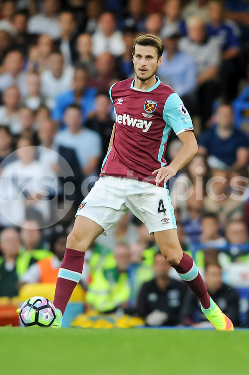 Havard Nordtveit of West Ham United during the Premier League match between Chelsea and West Ham United at Stamford Bridge, London, England on 15 August 2016. Photo by Salvio Calabrese.