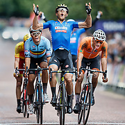 Matteo Trentin of Italy (C) wins gold, Mathieu Van Der Poel of Netherlands (R) wins silver and Wout Van Aert of Belgium (L) wins bronze in the men's cycling Road Race at the Glasgow 2018 European Cycling Road Race Championships, Glasgow, Britain, 12 August 2018.
