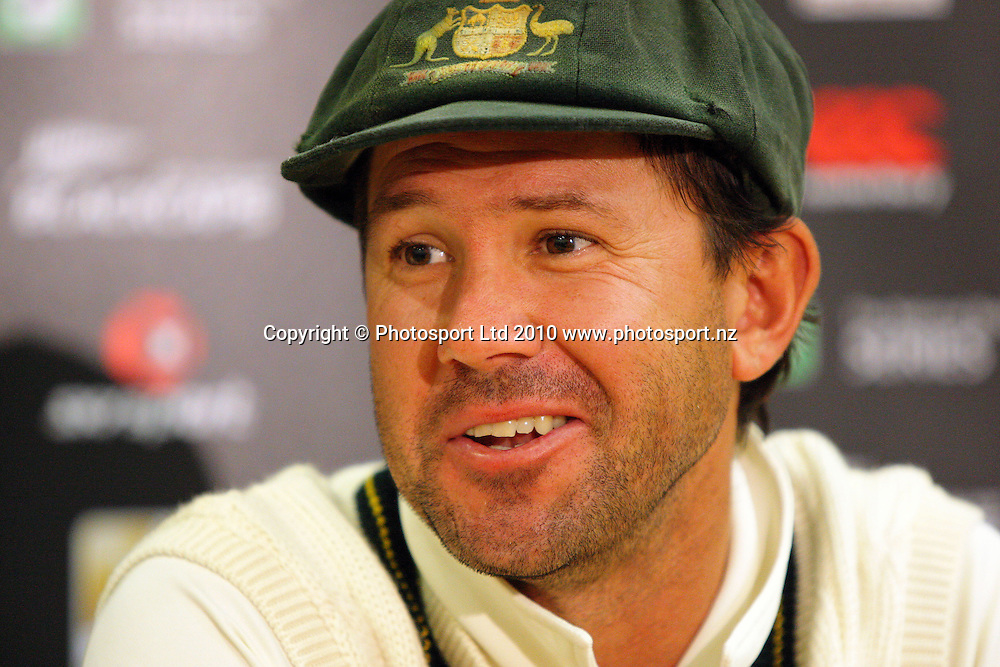 Australian captain Ricky Ponting after the win.<br /> 1st cricket test match - New Zealand Black Caps v Australia, day five at the Basin Reserve, Wellington. Tuesday, 23 March 2010. Photo: Dave Lintott/PHOTOSPORT