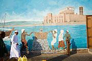 Deira. Shindagha Market. Fish Souq. Mural with fisehermen.