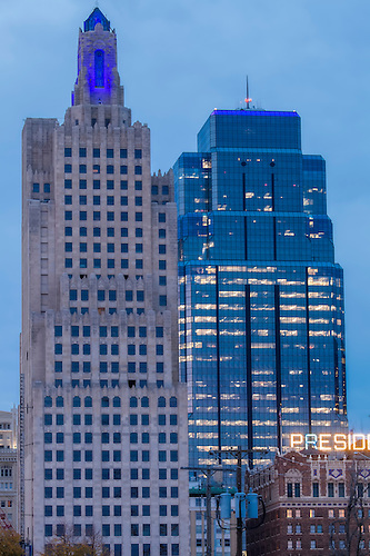 Vertical Photos Of Power And Light Building Highrise In Downtown Kansas City,  Lit Blue For
