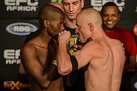 BALBWIN MDLALOSE and CEDRIC DOYLE during EFC Africa 26 Weigh-in, 11 December  2013, The Dome, Johannesburg.