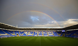READING, ENGLAND - Tuesday, September 22, 2015: A double rainbow over Reading's Madejski Stadium before the Football League Cup 3rd Round match against Everton. (Pic by David Rawcliffe/Propaganda)