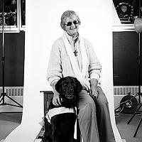 Carole Vivianne Sharpe<br /> Navy<br /> 1965-1968<br /> Fleet Air Arm<br /> REM Engineer<br /> Wren<br /> <br /> Carole is pictured with her Guide Dog called Fran.<br /> <br /> Blind Veterans UK<br /> Brighton, UK