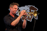 Jazz trumpeter, singer-songwriter Jeremy Davenport performs on the WWOZ Jazz Tent stage on the last day at the New Orleans Jazz and Heritage Festival at the New Orleans Fair Grounds Race Course in New Orleans, Louisiana, USA, 3 May 2009.