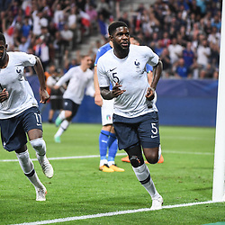 Samuel Umtiti of France celebrates his goal during the International Friendly match between France and Italy at Allianz Riviera Stadium on June 1, 2018 in Nice, France. (Photo by Anthony Dibon/Icon Sport)