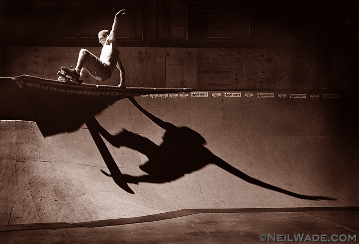 Skateboarder Tim Glomb does a trick on a half pipe in a skatepark near Philadelphia, Pa.