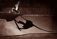 Skateboarder Tim Glomb does a trick on a half pipe in a skatepark near Philadelphia, Pa.