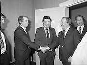An Taoiseach Meets SDLP Delegation.  (N60)..1981..06.02.1981..02.06.1981..6th February 1981..At Government Buildings ,Leinster House Dublin, An Taoiseach, Mr Charles Haughey, met with a delegation from the SDLP. The delegation was led by Mr John Hume MEP..Image shows An Taoiseach, Charles Haughey TD being introduced to Mr Austin Currie by Mr John Hume MEP leader of the SDLP. Behind Mr Haughey is the deputy leader of Fianna Fáil, Mr Brian Lenihan TD.