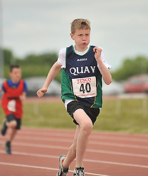 Dylan Thornton from Quay Ballina on his way to gold in the boys U12 100m  at the Mayo Commmunity Games finals in Claremorris.<br /> Pic Conor McKeown