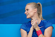 Katie Nageotte, USA, Women's Pole Vault, cheers on Sam Kendricks (USA) (not in picture) in the Men's Pole Vault, during the Diamond League Meeting at Stade Charlety, Paris, France on 24 August 2019.