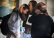 A  Sparks Middle School student cries after being released from Agnes Risley Elementary School, where some students were evacuated to after a shooting at SMS in Sparks, Nev. on Monday, October 21, 2013 in Sparks, Nev.<br /> (AP Photo/Kevin Clifford)