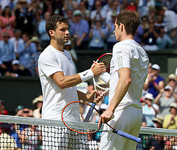 02.07.2014, All England Lawn Tennis Club, London, ENG, ATP Tour, Wimbledon, im Bild Andy Murray (GBR) shakes hands with Grigor Dimitrov (BUL) after losing during the Gentlemen's Singles Quarter-Final match on day nine // during the Wimbledon Championships at the All England Lawn Tennis Club in London, Great Britain on 2014/07/02. EXPA Pictures © 2014, PhotoCredit: EXPA/ Propagandaphoto/ David Rawcliffe<br /> <br /> *****ATTENTION - OUT of ENG, GBR*****