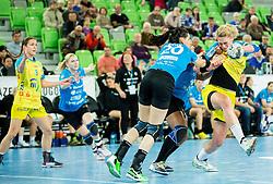 Alja Koren #20 of Krim Mercator vs Luisa Schulze of Leipzigduring handball match between RK Krim Mercator (SLO) and HC Leipzig (GER) in 6th Round of Women's EHF Champions League 2014/15, on November 21, 2014 in Arena Stozice, Ljubljana, Slovenia. Photo by Vid Ponikvar / Sportida