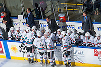 KELOWNA, CANADA - JANUARY 2: Scott Hoyer, athletic therapist, Kris Mallet, assistant coach, Brad Ralph, head coach and Travis Cricked, assistant coach stand on the bench during the time out with the Kelowna Rockets against the Victoria Royals on January 2, 2016 at Prospera Place in Kelowna, British Columbia, Canada.  (Photo by Marissa Baecker/Shoot the Breeze)  *** Local Caption *** Scott Hoyer; Kris Mallet; Brad Ralph; Travis Cricked;