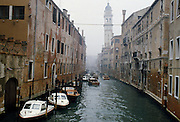 Boats on canal in Venice, Italy