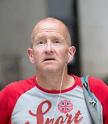 "London, July 16th 2017. Snow sports competitor and Film and television personality Eddie ""The Eagle"" Edwards at the BBC's Broadcasting House in London"
