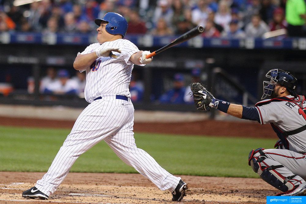NEW YORK, NEW YORK - MAY 02: Pitcher Bartolo Colon #40 of the New York Mets watches as contact on the ball flies just foul during the Atlanta Braves Vs New York Mets MLB regular season game at Citi Field on May 02, 2016 in New York City. (Photo by Tim Clayton/Corbis via Getty Images)