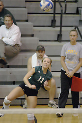 27 October 2006: Ashley Reed delivers a serve. The Bears won the match 3 games to 1. The match between the Washington University Bears and the Illinois Wesleyan Titans took place at Shirk Center on the IWU campus in Bloomington Illinois.<br />