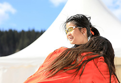 17.03.2017, Ramsau am Dachstein, AUT, Special Olympics 2017, Wintergames, Schneeschuhlauf, Divisioning 100 m, im Bild Choi Yin Gobby Tsang (HKG) // during the Snowshoeing Divisioning 100 m at the Special Olympics World Winter Games Austria 2017 in Ramsau am Dachstein, Austria on 2017/03/17. EXPA Pictures © 2017, PhotoCredit: EXPA / Martin Huber