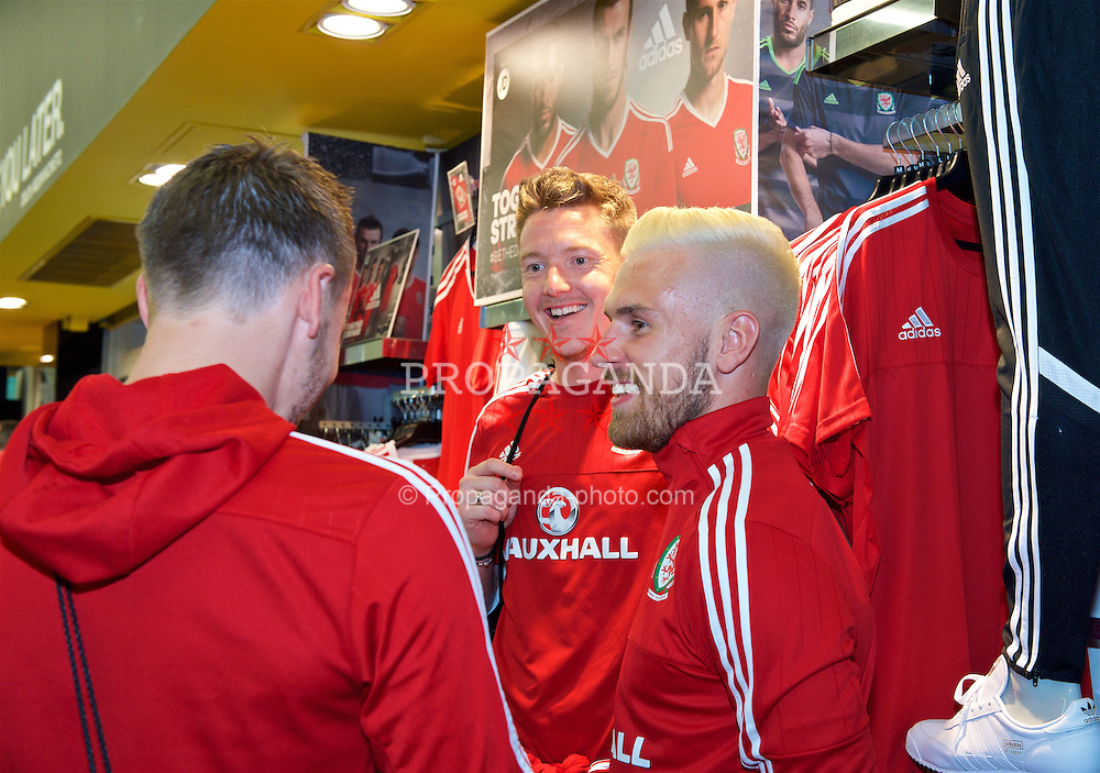 CARDIFF, WALES - Thursday, June 2, 2016: Wales' goalkeeper Wayne Hennessey and Aaron Ramsey during a visit to a JD Sports store in Llantrisant. (Pic by Ian Cook/Propaganda)