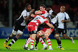 Gloucester Flanker (#7) Matt Cox is tackled during the first half of the match - Photo mandatory by-line: Rogan Thomson/JMP - Tel: Mobile: 07966 386802 13/11/2012 - SPORT - RUGBY - Kingsholm Stadium - Gloucester. Gloucester Rugby v Fiji - International Friendly