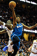 Feb. 13, 2011; Cleveland, OH, USA; Washington Wizards shooting guard Nick Young (1) drives past Cleveland Cavaliers power forward Antawn Jamison (4) during the second quarter at Quicken Loans Arena. The Wizards beat the Cavaliers 107-93 for their first win on the road this season. Mandatory Credit: Jason Miller-US PRESSWIRE