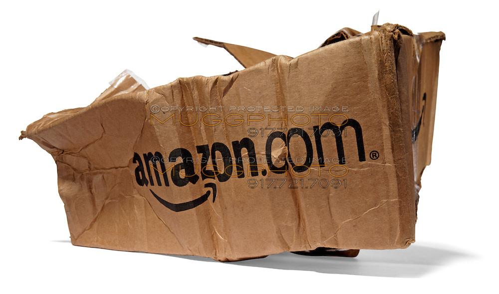 Damaged Destroyed Amazon package on white background