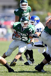 15 September 2007:  Alex Harbin wraps up Bo Lanter. The Titans stood toe to toe with the 25th ranked Lions through the first half but ended the game on the losing end of a 25-15 score at Wilder Field on the campus of Illinois Wesleyan University in Bloomington Illinois.