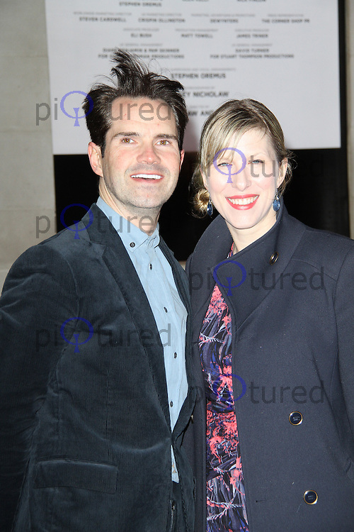 Jimmy Carr; Karoline Copping, The Book Of Mormon - opening night, Prince of Wales Theatre, London UK, 21 March 2013, (Photo by Richard Goldschmidt)