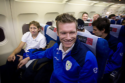 Matej Mavric at airplane from Moscow to Maribor and Ljubljana after the FIFA World Cup South Africa 2010 Qualifying play-off match between Russia and Slovenia,  on November 14, 2009, in Moscow, Slovenia.   (Photo by Vid Ponikvar / Sportida)