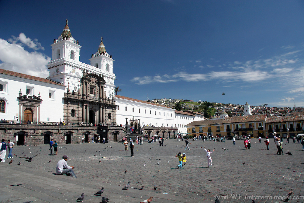 South America, Ecuador, Quito.  The impressive San Francisco Church in Quito's historical center, a UNESCO World Heritage site.