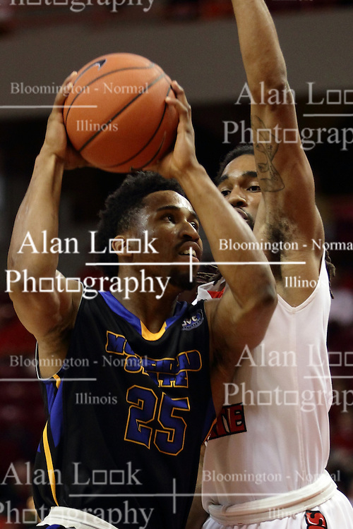 16 November 2015: Ronnye Beamon storms the lane guarded by Tony Wills(12). Illinois State Redbirds host the Morehead State Eagles at Redbird Arena in Normal Illinois (Photo by Alan Look)