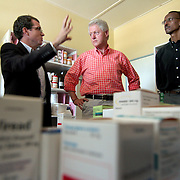 July, 15, 2006 - President Bill Clinton and Rwanda Presidnet Paul Kagame visit the district hospital in Rwinkwavu, Rwanda, which the Clinton Foundation renovated in partnership with Dr. Paul Farmer's Partners in Health. Photo by Evelyn Hockstein