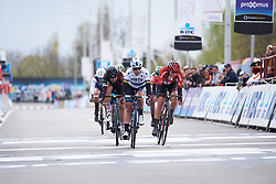 Marta Bastianelli (ITA) wins sprint for second ahead of Lucinda Brand (NED) and Elena Cecchini (ITA) at Dwars door Vlaanderen - Elite Women 2019, a 108 km road race from Tielt to Waregem, Belgium on April 3, 2019. Photo by Sean Robinson/velofocus.com