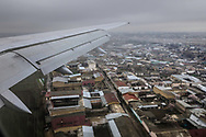 Uzbekistan Airways flight arriving into Tashkent.<br /> Picture date: Wednesday March 14, 2018.<br /> Photograph by Christopher Ison &copy;<br /> 07544044177<br /> chris@christopherison.com<br /> www.christopherison.com