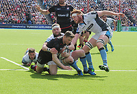 Rugby Union - 2016 / 2017 European Rugby Champions Cup - Quarter-Final: Saracens vs. Glasgow Warriors<br /> <br /> Chris Ashton of Saracens dives and then rolls over the try line for his first half try at Allianz Park.<br /> <br /> COLORSPORT/ANDREW COWIE