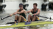 03/07/03/03 .2003 Henley Royal Regatta - Thurs..Silver Goblets and Nickalls'  Challenge Cup.Molesey Boat Club Davis Beckley and O Keech.background.Trident Rowing Club - South Africa.Bow Ramon Di Clemente and Donavan Cech. 2003 Henley Royal Regatta , Henley Reach . HRR.