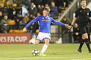GOAL Callum Camps scores 0-2 during the The FA Cup match between Slough Town and Rochdale at Arbour Park, Slough, United Kingdom on 4 December 2017. Photo by Daniel Youngs.
