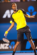 Gael Monfils (FRA) faced R. Nadal (ESP) Day 6 play at the 2014 Australian Open in Melbourne's Rod Laver Arena. Nadal defeated Monfils 6-1, 6-2, 6-3.